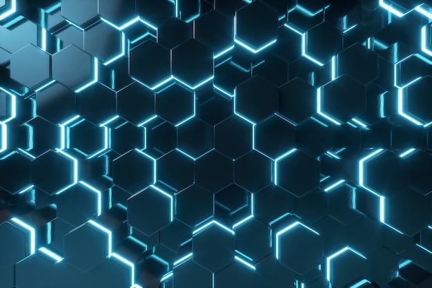 Blu astratto del modello futuristico con i raggi luminosi, rappresentazione di esagono di superficie 3d