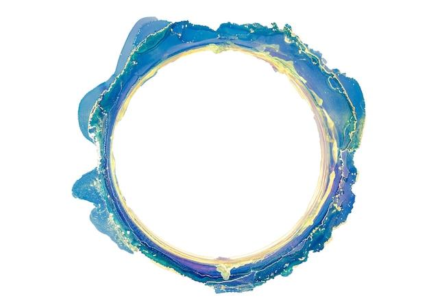 Acquerello astratto blu e oro, cerchio, vecchia cornice, pennellate di inchiostro design isolato