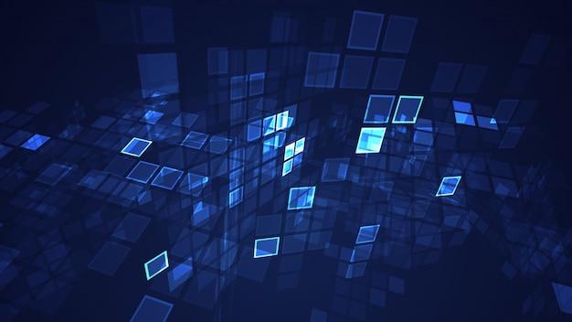 Fondo di prospettiva di griglia di rettangolo di lampeggio grafico blu astratto