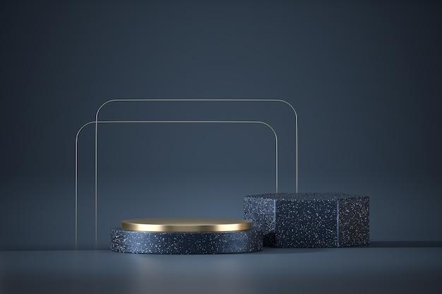 Podio astratto della fase dell'oro e del marmo blu, rappresentazione 3d