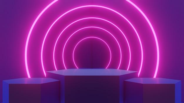 Sala blu astratta e tre podi di esagoni con bagliore di loop rosa al neon, rendering 3d