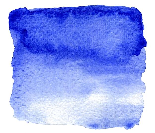 Acquerello astratto blu che spruzza su sfondo bianco