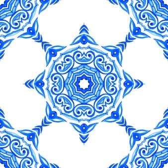 Astratto blu e bianco mano piastrelle disegnate seamless ornamentali pittura ad acquerello pattern