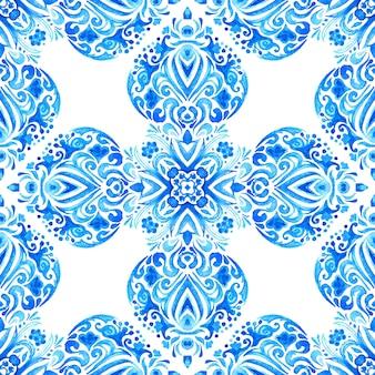 Acquerello ornamentale senza cuciture delle mattonelle disegnate a mano astratto blu e bianco