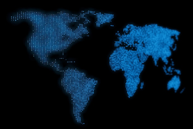 Priorità bassa blu astratta di disegno della mappa del mondo