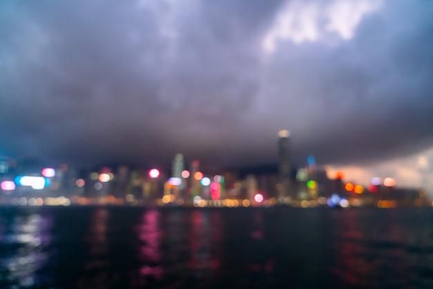 Sfocatura astratta e sfocato città di hong kong