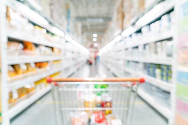 Sfocatura astratta e supermercato sfocato