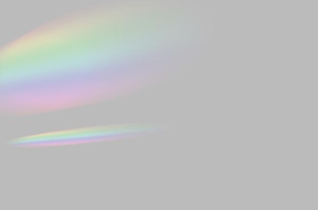Abstract di sfocato prisma arcobaleno sovrapposizione di luce su sfondo grigio per mockup e decorativoup
