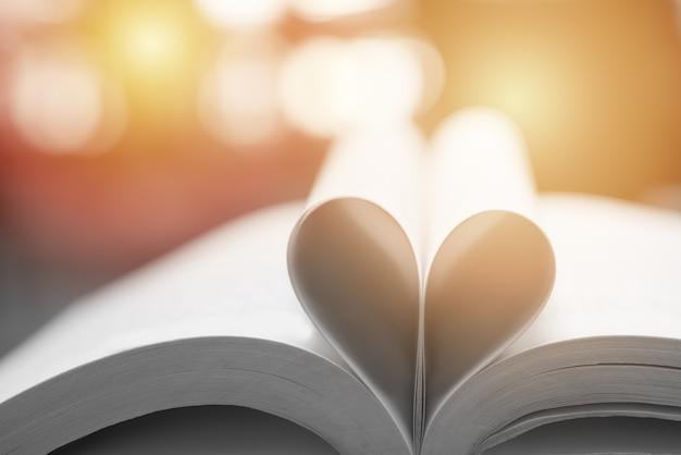 Libro astratto in forma di cuore, concetto di educazione e saggezza, libro del mondo e giornata del copyright