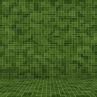 Fondo e struttura della parete del mosaico delle mattonelle del pixel quadrato verde intenso astratto.
