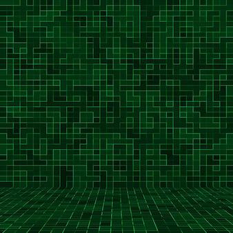 Muro di mosaico di piastrelle di pixel quadrati verde brillante astratto