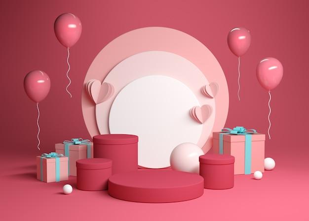 La scena astratta della piattaforma della celebrazione con il contenitore di regalo 3d rende