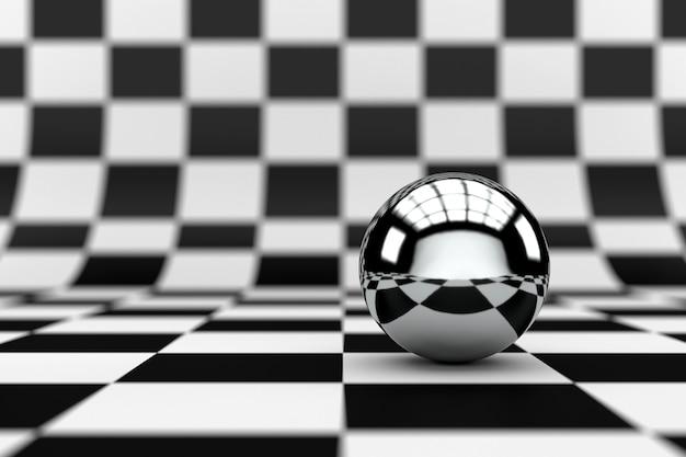 Fondo a scacchi astratto con la sfera della sfera del metallo. rendering 3d.