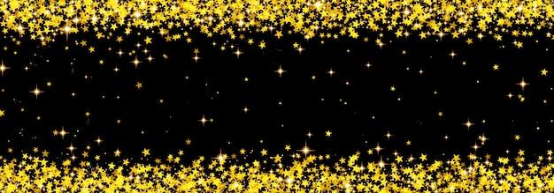 Astratto sfondo di natale con coriandoli che cadono fatti di stelle d'oro, stelle lucenti d'oro