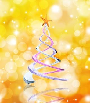 Albero di natale astratto su uno sfondo di luci dorate