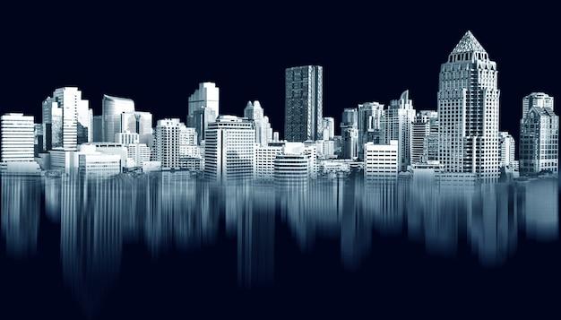 Città astratta che costruisce effetti futuristici di area metropolitana dell'orizzonte