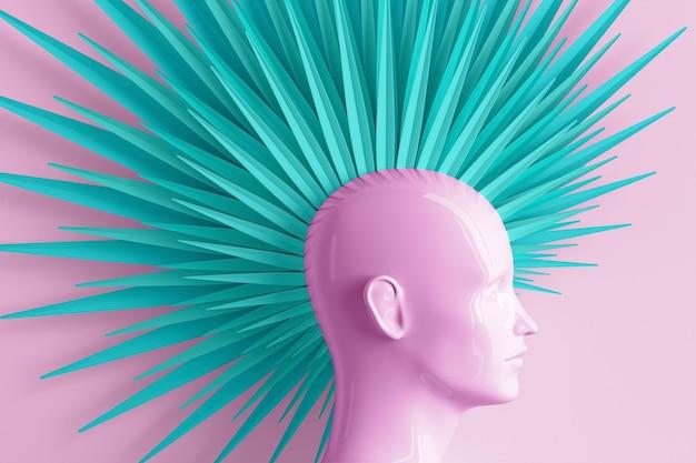 Colore astratto sfondo pastello con profilo femminile e acconciatura mohawk alla moda ribelle stilizzata dipinta in illustrazione 3d rosa e blu