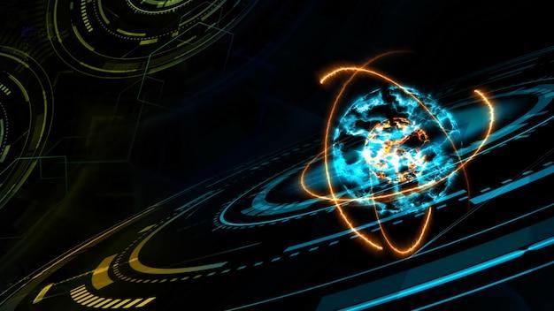 Nucleo esplosivo di nucleo colorato astratto e tecnologia informatica futuristica quantistica con modello di matrice digitale e laser