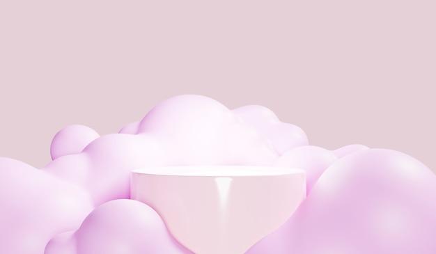 Astratto sfondo colorato pastello con podio del cilindro, supporto di geometria per bambini o prodotti per neonati. rendering 3d.