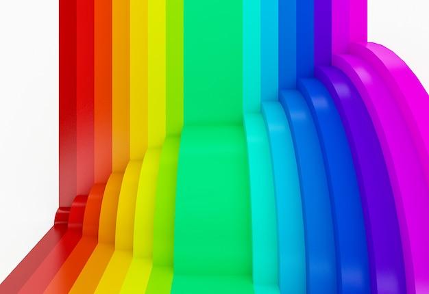 Priorità bassa di prospettiva arcobaleno colorato astratto, 3d