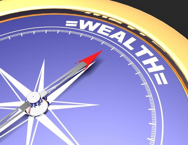 Bussola astratta con l'ago che indica la ricchezza di parola. concetto di ricchezza