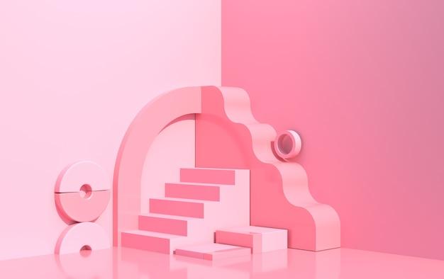 Composizione astratta di forme geometriche in stile art déco e podio per la vetrina del prodotto, colore rosa, rendering 3d
