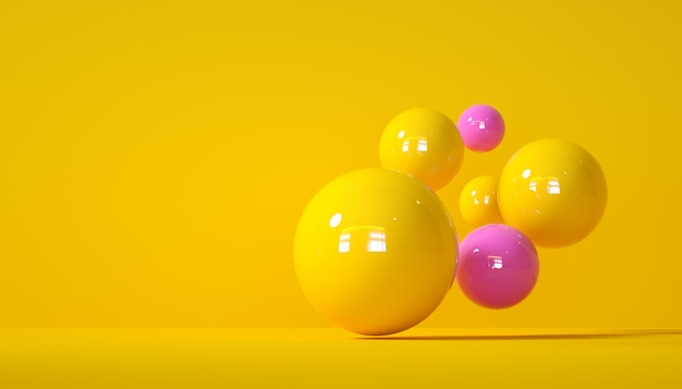 Composizione astratta con sfondo giallo sfere 3d