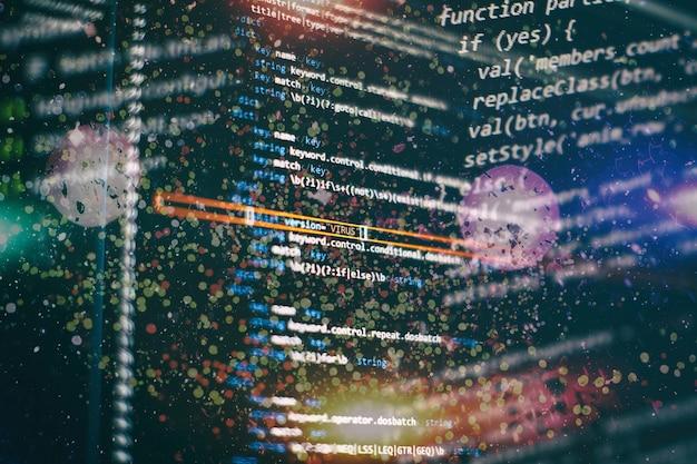 Codice di script di computer astratto. schermata del codice di programmazione dello sviluppatore del software. tempo di lavoro di programmazione del software.