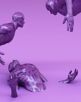 Il concetto astratto colorato di uomini è bloccato sul pavimento. rendering 3d