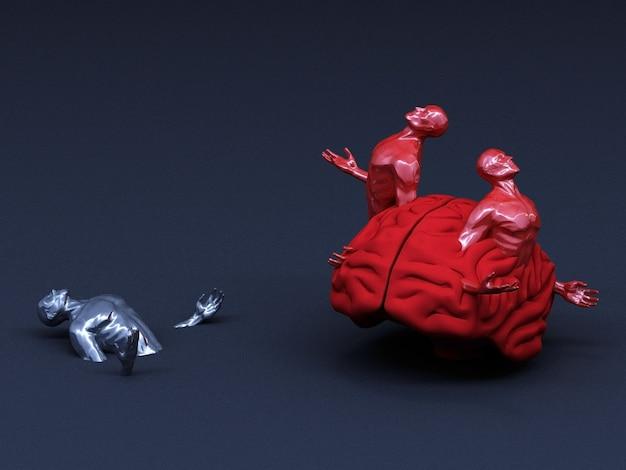 Concetto astratto colorato di uomini e il suo cervello. rendering 3d