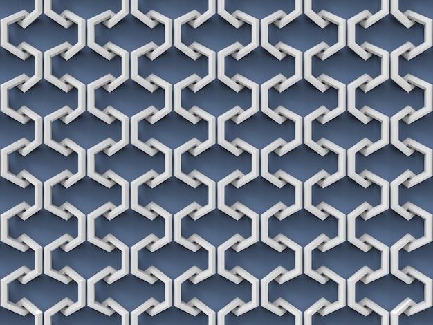 Modello esagonale mezzo bianco collegato di abstract sul fondo blu della parete.