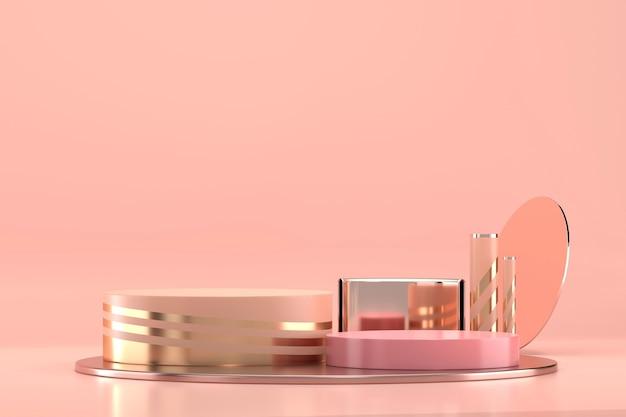 Il podio della fase della piattaforma cosmetica astratta per la vetrina di visualizzazione del prodotto 3d rende