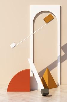 Fondo crema astratto con podio di forma geometrica per prodotto con ombra sul muro. concetto minimo tono giallo arancio e marrone. rendering 3d
