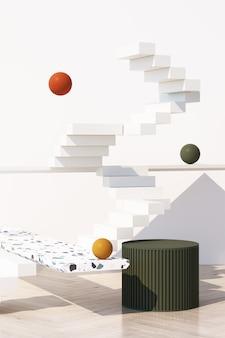 Fondo crema astratto con podio di forma geometrica per prodotto con ombra sul muro. concetto minimo arancione e verde con tonalità di giallo. rendering 3d