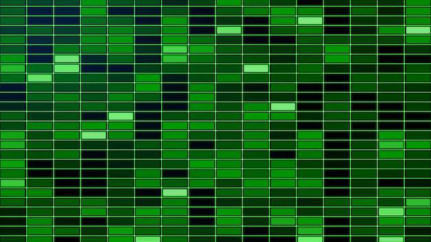Priorità bassa di griglia di incandescenza variopinta verde creativa astratta. piastrelle, quadrati con bagliore.