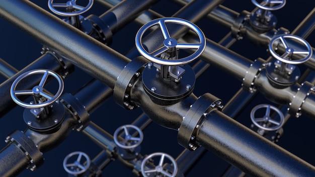 Concetto industriale creativo astratto dell'impianto idraulico o del gasdotto: serie di tubi in acciaio con valvole nere ed effetto di messa a fuoco selettiva, focuse sulla valvola, profondità di campo ridotta, illustrazione 3d industriale