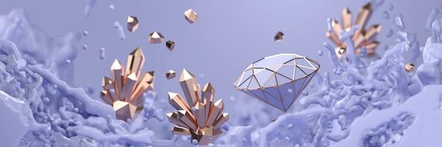 Diamante di cristallo astratto con messa a fuoco morbida della spruzzata liquida viola, rendering 3d