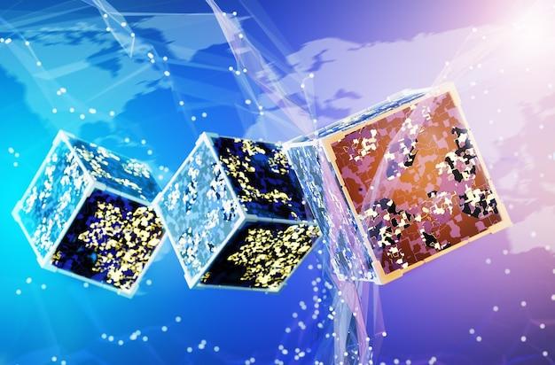 Cubi astratti con un circuito elettrico sullo sfondo della mappa del mondo. transazioni sulla rete blockchain. rendering 3d.