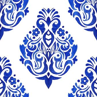 Modello di pittura ad acquerello ornamentale senza cuciture del fiore del damasco astratto.