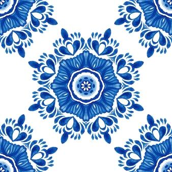 Modello di pittura ad acquerello ornamentale senza cuciture del fiore del damasco astratto