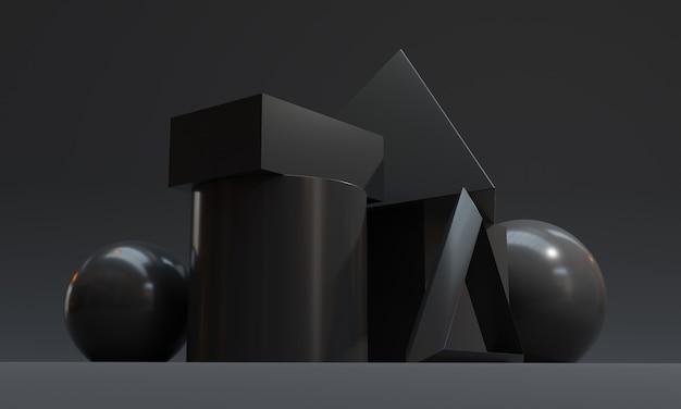Fondo nero scuro astratto di forma geometrica. illustrazione di rendering 3d.