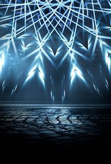 Sfondo futuristico scuro astratto i raggi di luce al neon blu si riflettono sull'acqua