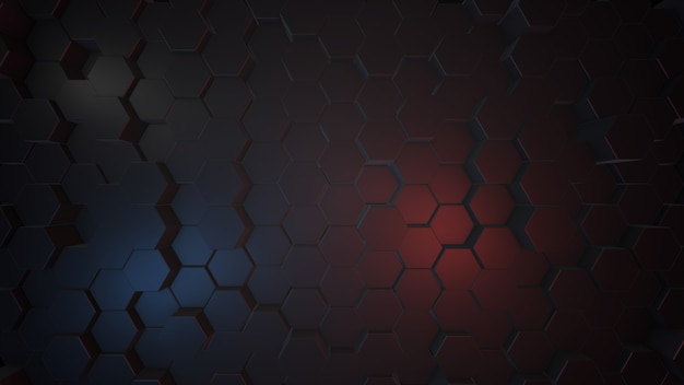 Illustrazione 3d astratta del fondo esagonale scuro, luce blu e rossa. rendering 3d.