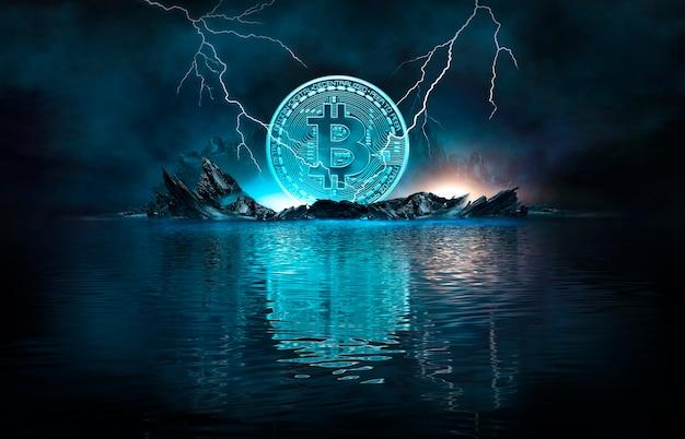 Neon scuro astratto con bitcoin, linee dinamiche, fulmini