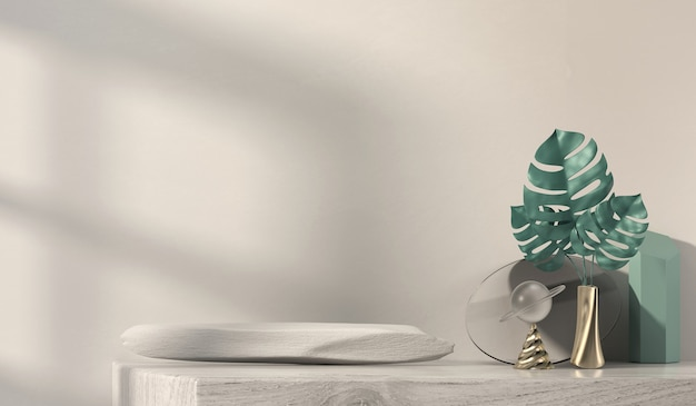 Scrivania astratta e piante per l'esposizione di prodotti pubblicitari