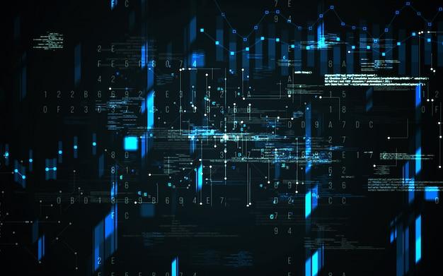 Astratto sfondo digitale. concetto futuristico di tecnologia dell'informazione di grandi quantità di dati. catena a blocchi