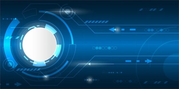 Fondo digitale astratto, spazio vuoto del cerchio bianco, concetto di tecnologia digitale di alta tecnologia, cyberspazio della luce blu