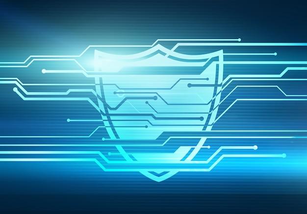 Illustrazione digitale astratta di concetto di protezione e sicurezza dei dati di internet con scudo sulla parete del microchip del circuito.