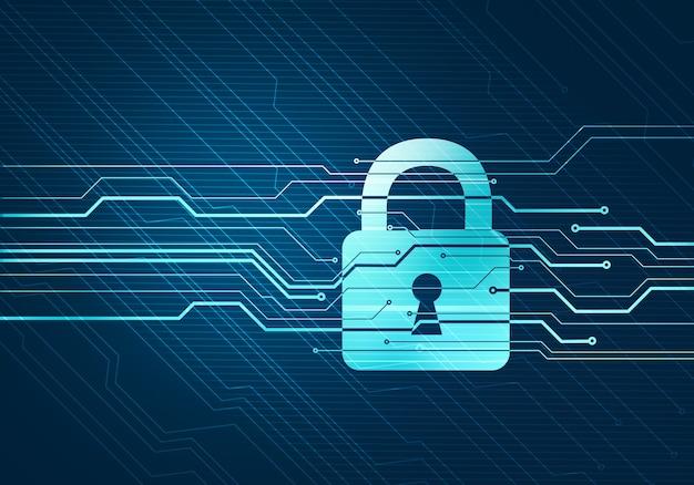 Concetto digitale astratto di protezione e sicurezza dei dati internet con blocco sul microchip del circuito