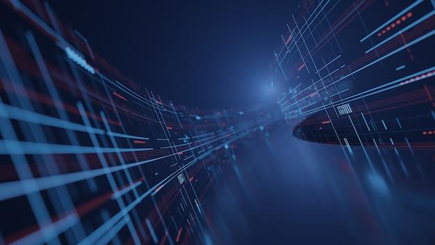 Dati digitali astratti sotto forma di percorso curvo con riflesso della luce sul pavimento